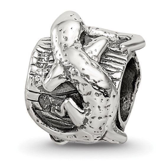 Sterling Silver Reflections Lizard on a Log Bead