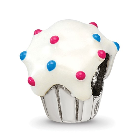 Sterling Silver Reflections White Enameled Cupcake Bead