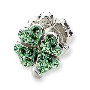 Sterling Silver Reflections Light Green Crystal Clover Bead