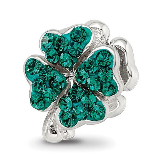 Sterling Silver Reflections Green Swarovski Crystal Clover Bead