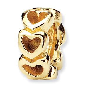 14k Reflections Heart Bead
