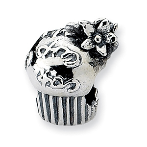 Sterling Silver Reflections Cupcake with Flowers Bead