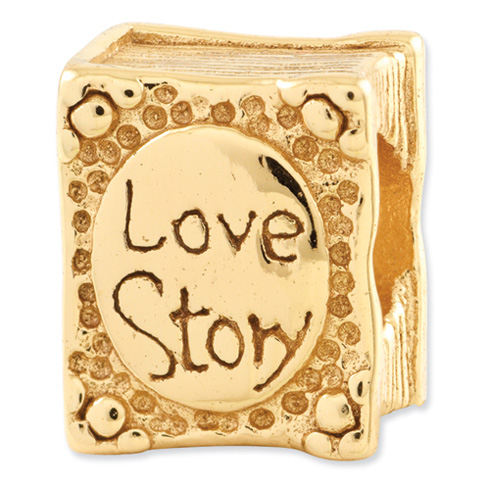 Sterling Silver Gold-plated Reflections Love Story Book Bead