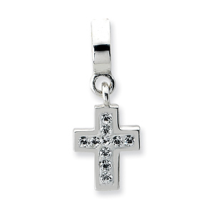 Sterling Silver Reflections Clear Swarovski Cross Dangle Bead