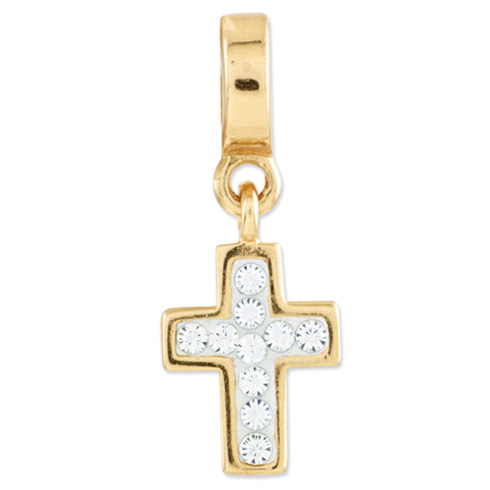 Sterling Silver Gold-plated Reflections Swarovski Cross Dangle Bead