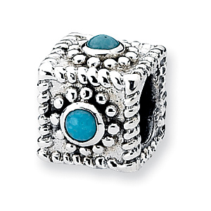 Sterling Silver Reflections Square Turquoise Bead