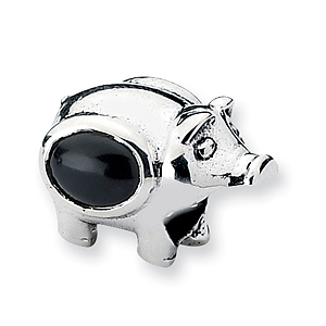 Sterling Silver Reflections CZ Pig Bead