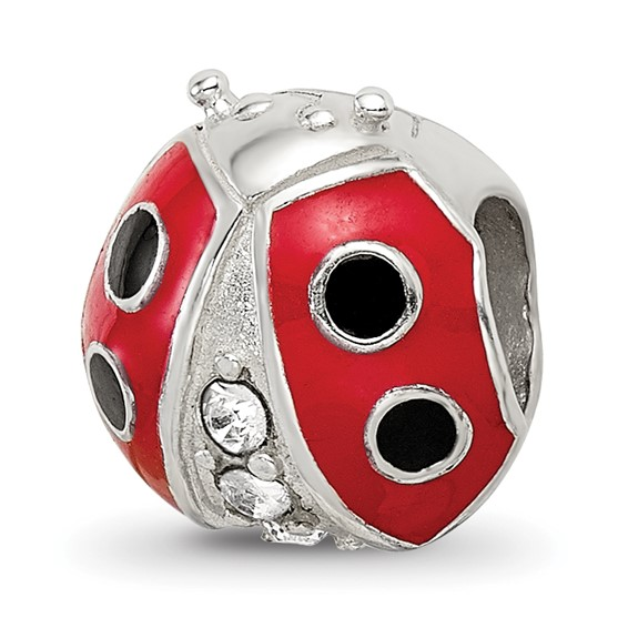 Sterling Silver Reflections Enameled Ladybug Bead