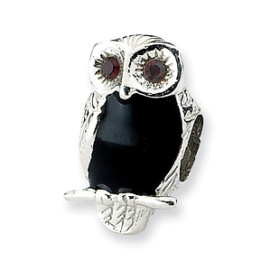 Sterling Silver Reflections Enameled Wise Owl Bead
