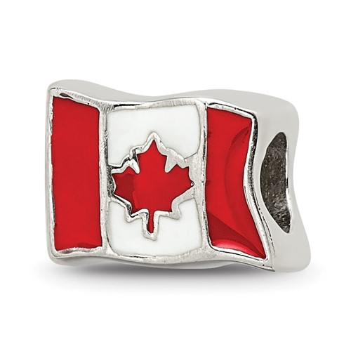 Sterling Silver Reflections Canada Flag Bead