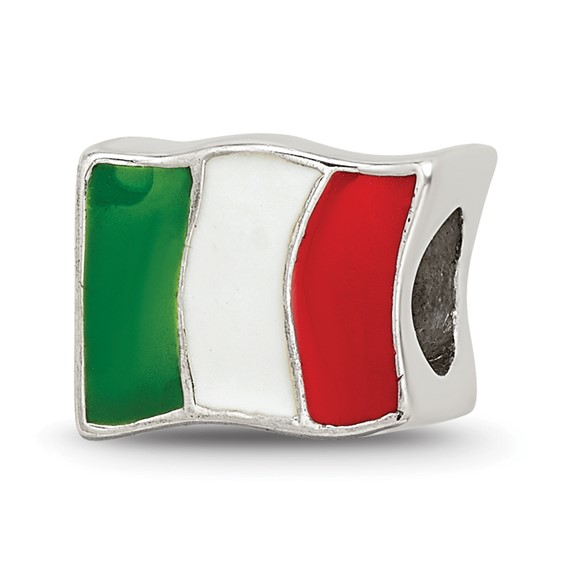 Sterling Silver Reflections Italy Flag Bead