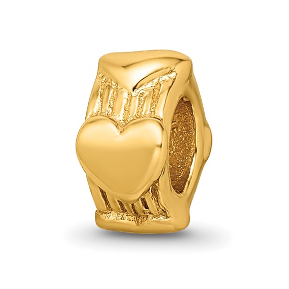 Sterling Silver Gold-plated Reflections Heart Bead with Grooves