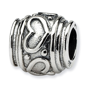 Sterling Silver Reflections Heart Barrel Bead with Grooves