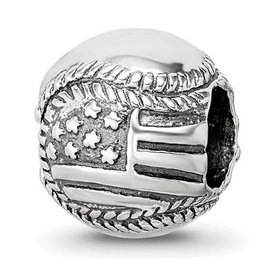Sterling Silver Reflections USA Flag Baseball Bead