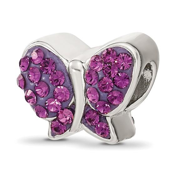 Sterling Silver Reflections Purple Swarovski Butterfly Bead