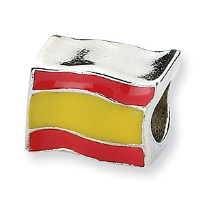 Sterling Silver Reflections Spain Flag Bead