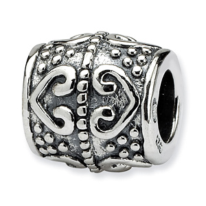 Sterling Silver Reflections Heart Barrel Bead with Dots