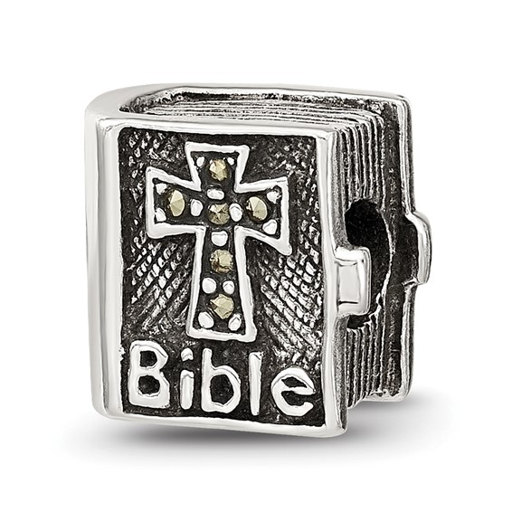 Sterling Silver Reflections Marcasite Cross Bible Bead