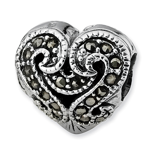 Sterling Silver Reflections Marcasite Heart Bead