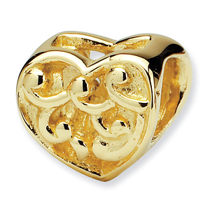 14k Reflections Scroll Heart Bead