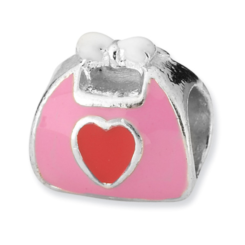 Sterling Silver Reflections Pink & Red Enameled Purse Bead