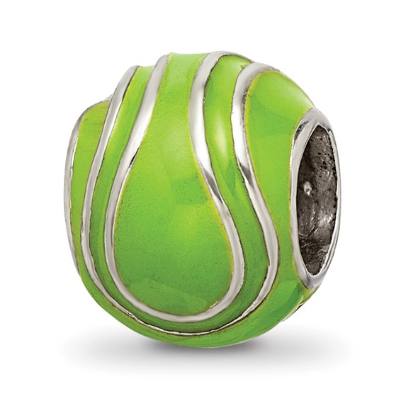 Sterling Silver Reflections Enameled Tennis Ball Bead