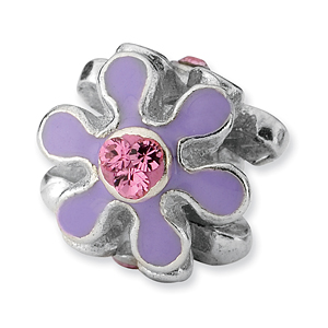 Sterling Silver Reflections Purple Enameled with CZ Flower Bead