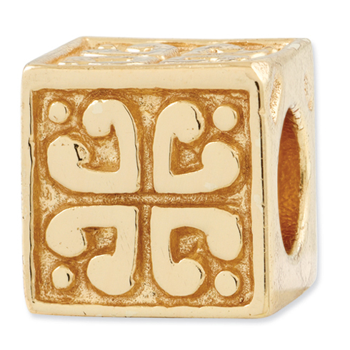 Sterling Silver Gold-plated Reflections Heart Cube Bead