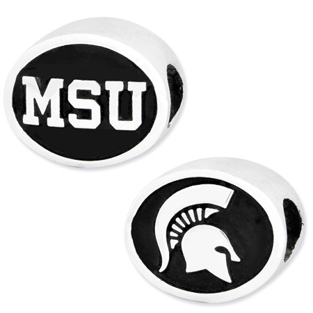 Sterling Silver Michigan State University Charm Bead