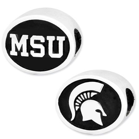 Sterling Silver Michigan State University Charm Bead