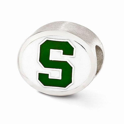 Sterling Silver Enameled Michigan State University Spartans Bead