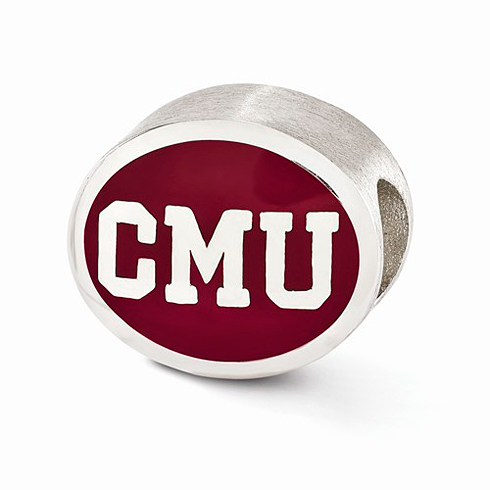 Sterling Silver Enameled Central Michigan University Bead