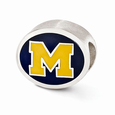 Sterling Silver Enameled University of Michigan Bead