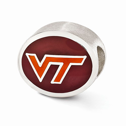 Sterling Silver Enameled Virginia Tech VT Bead