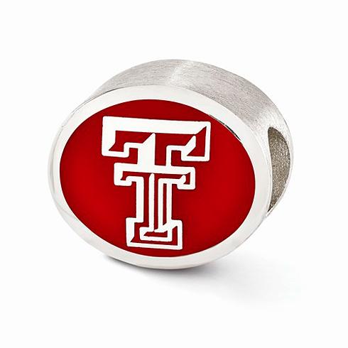 Sterling Silver Enameled Texas Tech University Bead