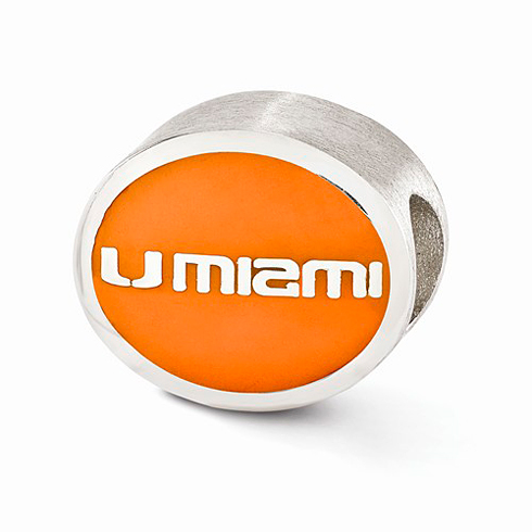 Sterling Silver Enameled University of Miami Bead