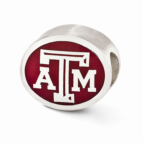 Sterling Silver Enameled Texas A&M University Bead