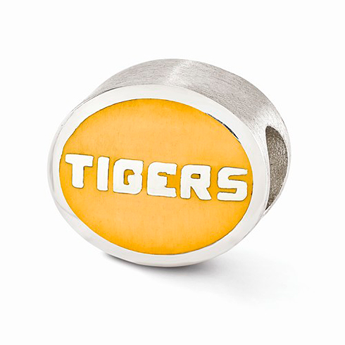 Sterling Silver Enameled Louisiana State University Tigers Bead