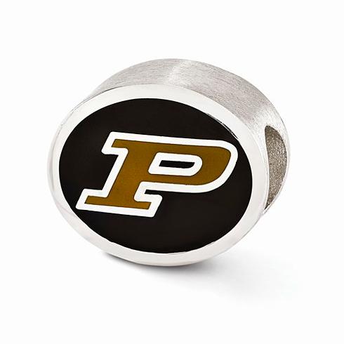 Sterling Silver Enameled Purdue University Bead