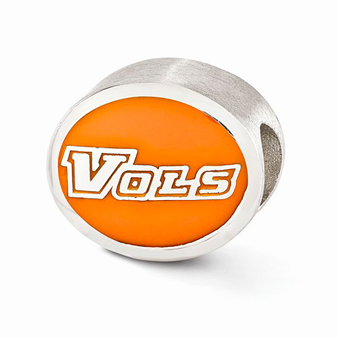 Sterling Silver Enameled University of Tennessee Bead
