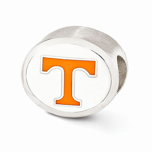 Sterling Silver Enameled Orange University of Tennessee Bead