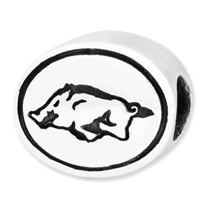 Sterling Silver University of Arkansas Razorbacks Charm Bead