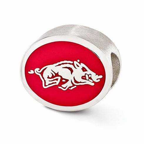 Sterling Silver Enameled University of Arkansas Bead