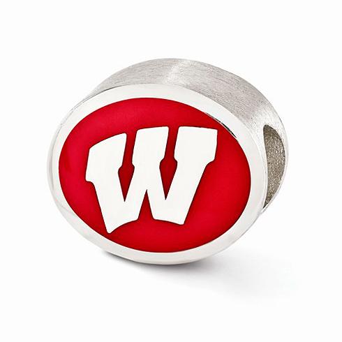 Sterling Silver Enameled University of Wisconsin Bead
