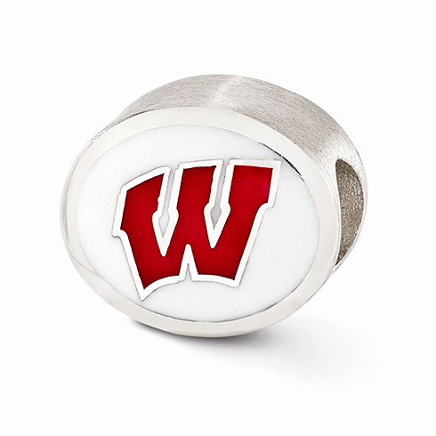Sterling Silver Enameled University of Wisconsin Badgers Bead
