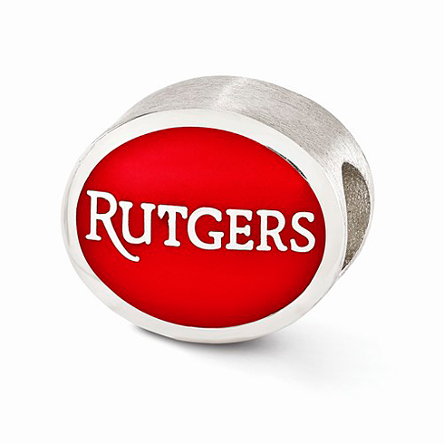 Sterling Silver Enameled Rutgers University Bead