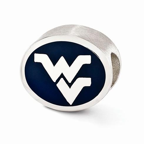 Sterling Silver Enameled West Virginia University Bead