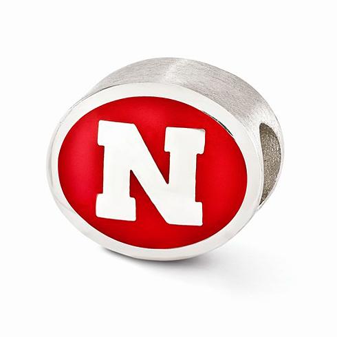 Sterling Silver Enameled University of Nebraska Bead