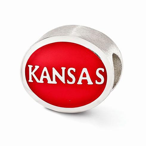 Sterling Silver Enameled University of Kansas Bead