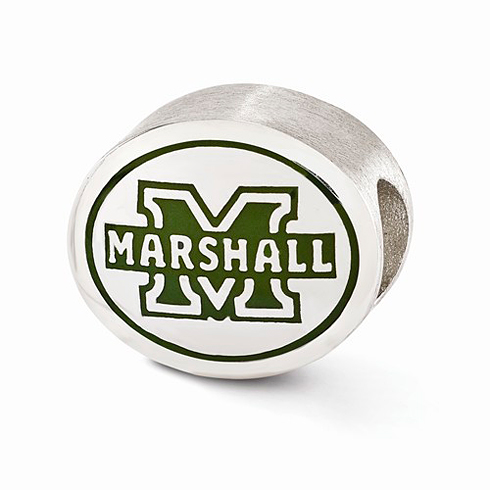 Sterling Silver Enameled Marshall University Bead
